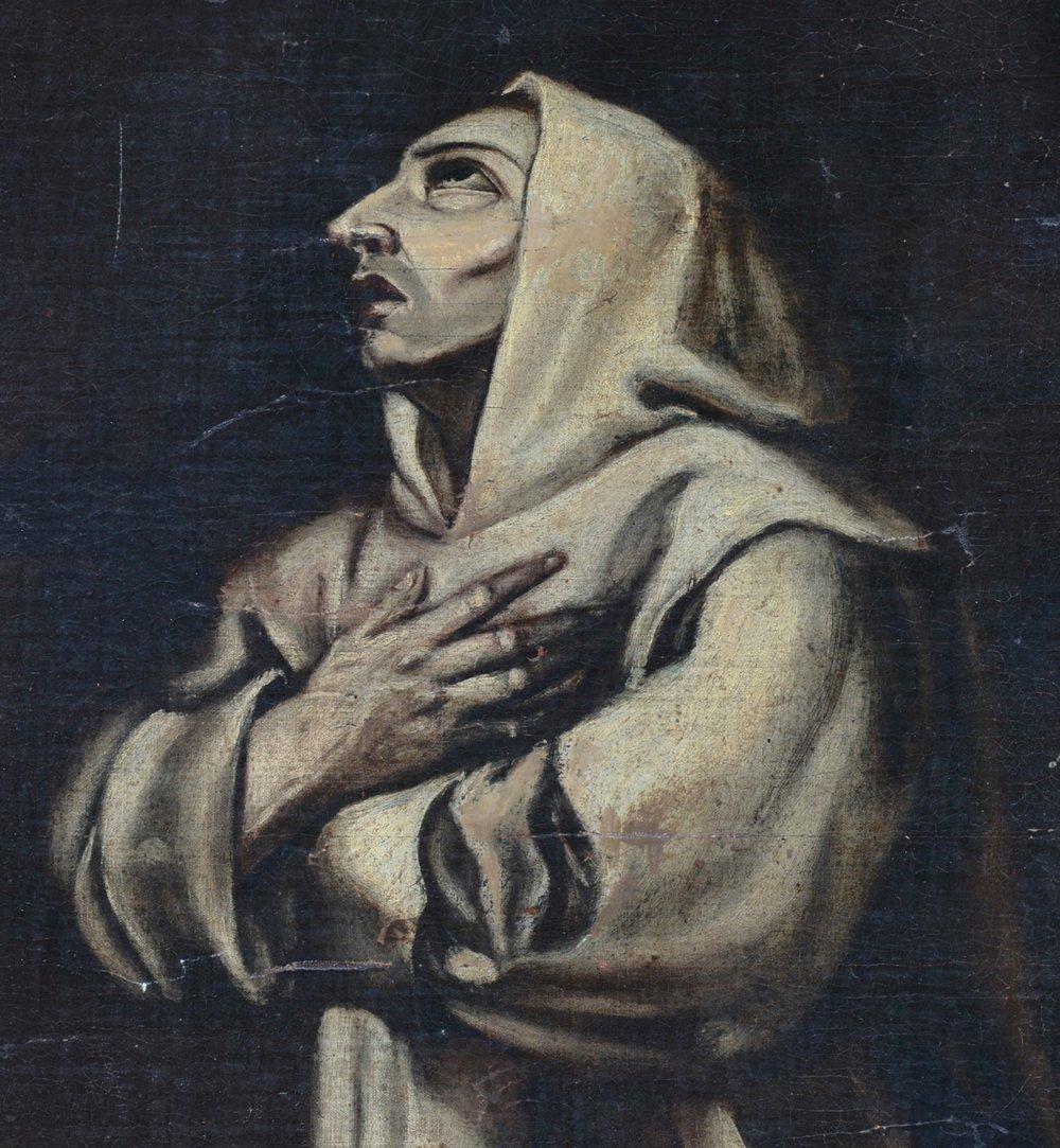 Spanish school painting, El Greco style monk, 19th c - 2