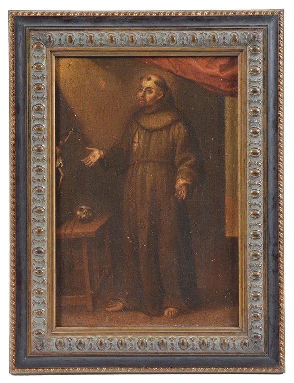 Continental school painting, Monk with Stigmata, 19th c