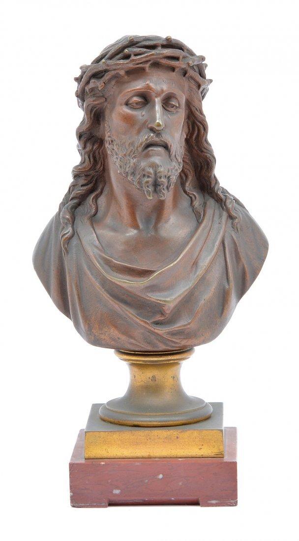 "Bulio bronze, bust of Jesus Christ, 10"" tall"
