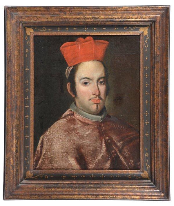 Continental school painting, Catholic Cardinal,