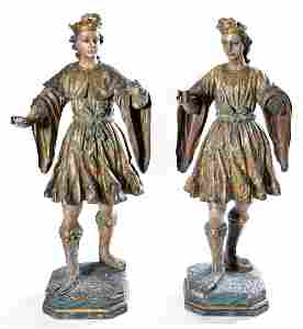 2 Spanish colonial polychrome carved wood figures