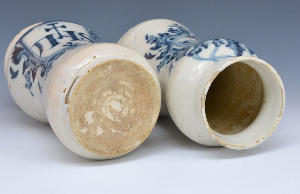 "Stoneware vases, ""IHS"", 19th c - 2"