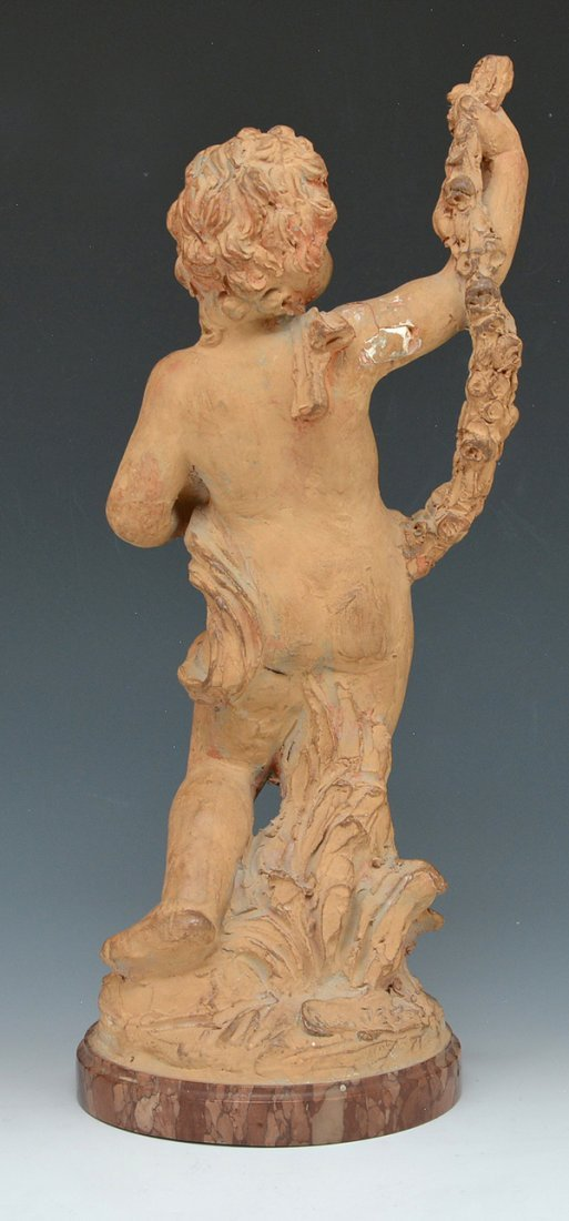 French terra cotta putti on marble base - 2