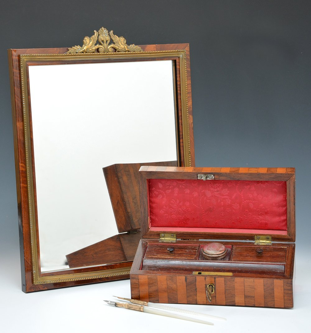 Mirror in burl frame and writing case