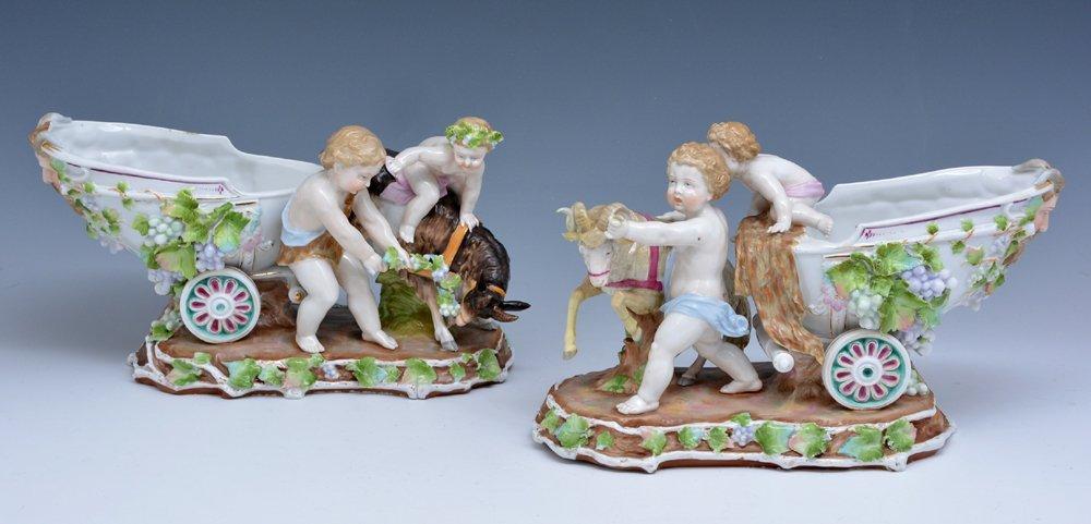 Pair KPM porcelain figurines, 19th c., marked