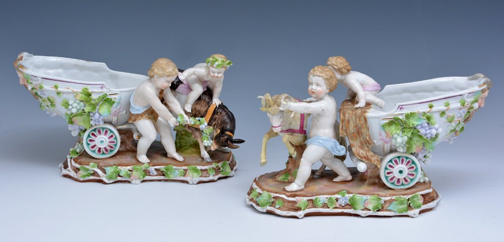 Pair KPM porcelain figurines, 19th c., marked