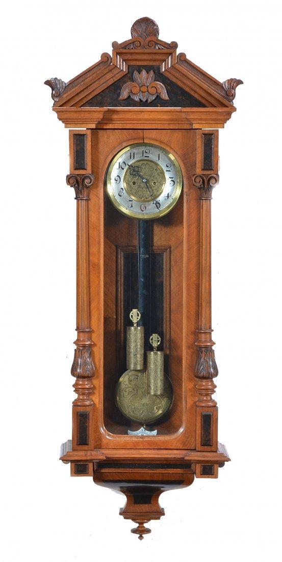 Vienna regulator wall clock, mahogany case, 19th c