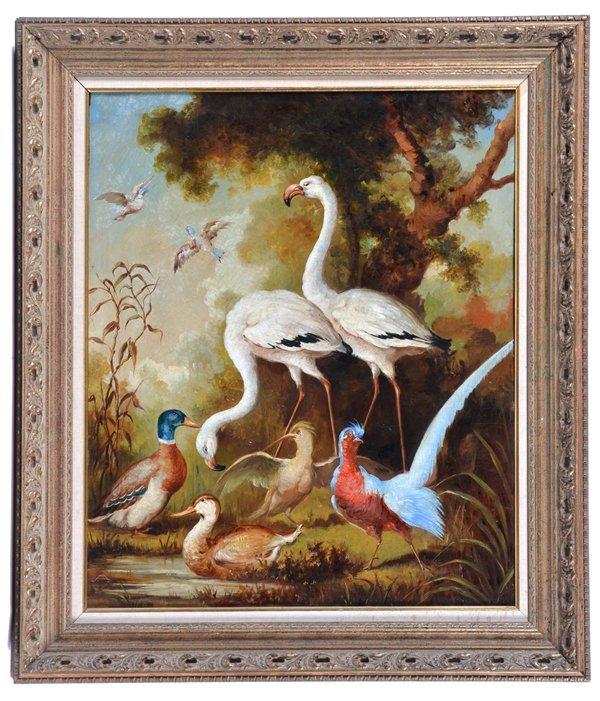 American school painting, American birds, monogram,