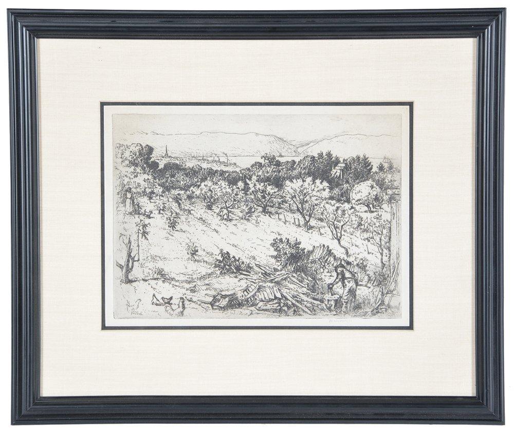 Mahonri Young, Chopping Wood, etching