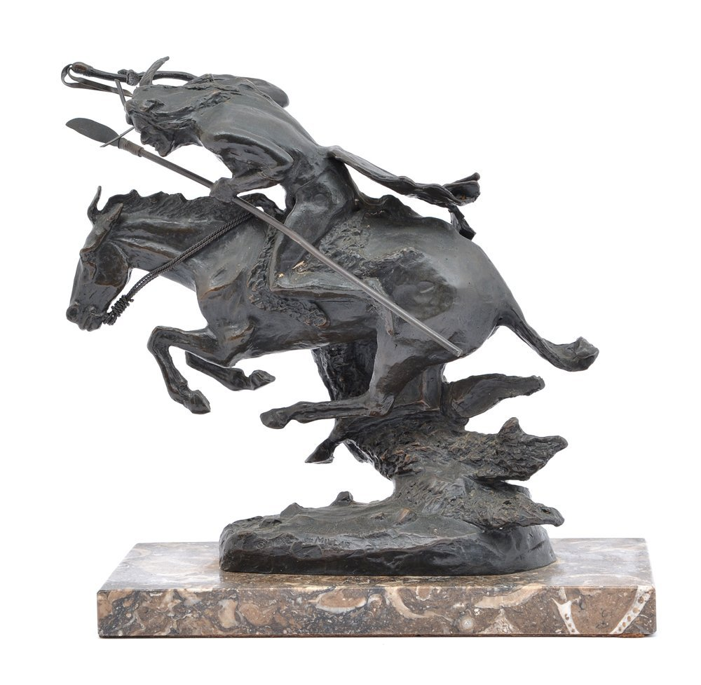 Bronze indian on charging horse, after Remington, 16