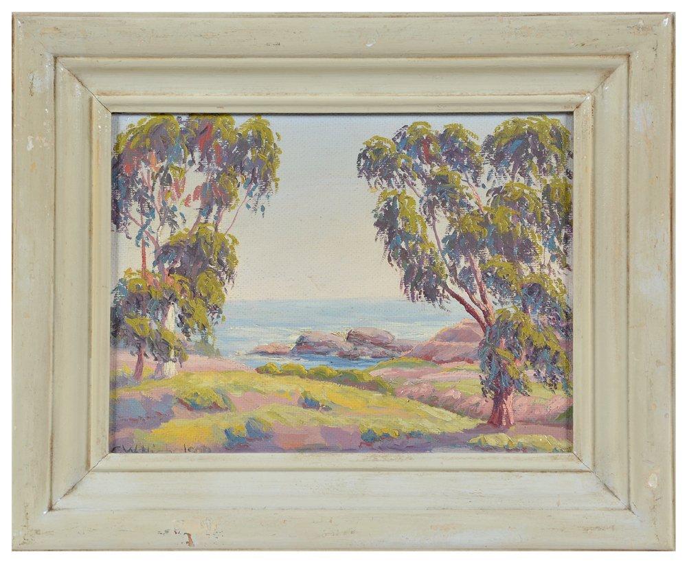 C W Nicholson, Eucalyptus Trees at Laguna Beach,  o/b