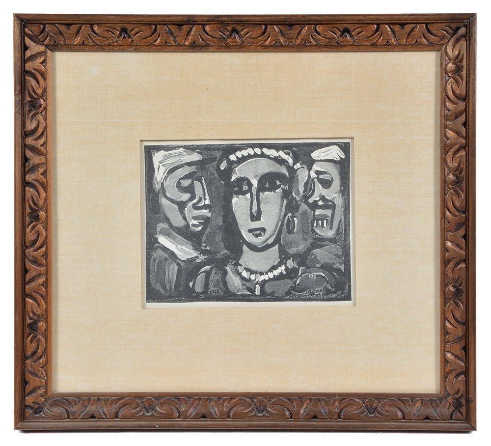 """Georges Rouault engraving, """"Les Visages"""""""