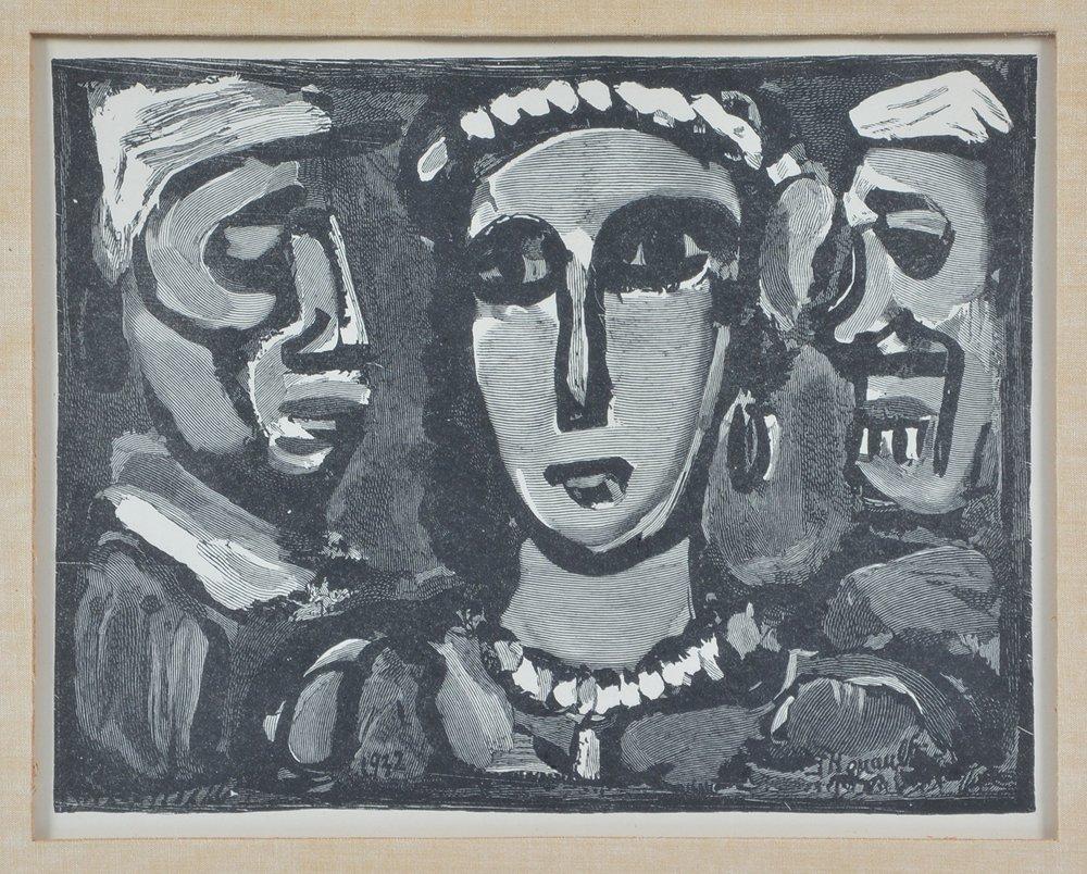"""Georges Rouault engraving, """"Les Visages"""" - 2"""