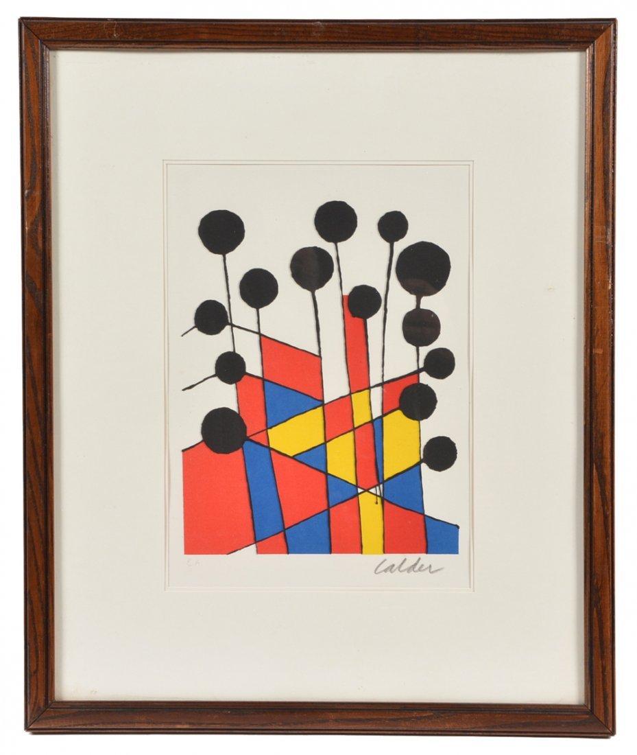 Alexander Calder lithograph, Black Balloons, signed