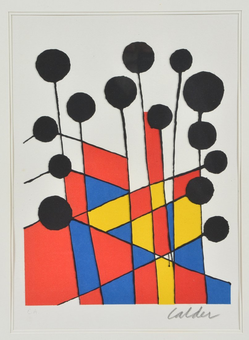 Alexander Calder lithograph, Black Balloons, signed - 2