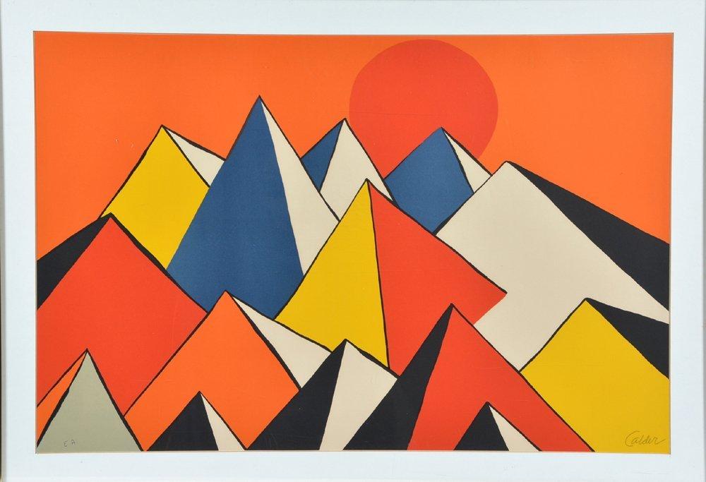 Alexander Calder lithograph, Pyramids, signed