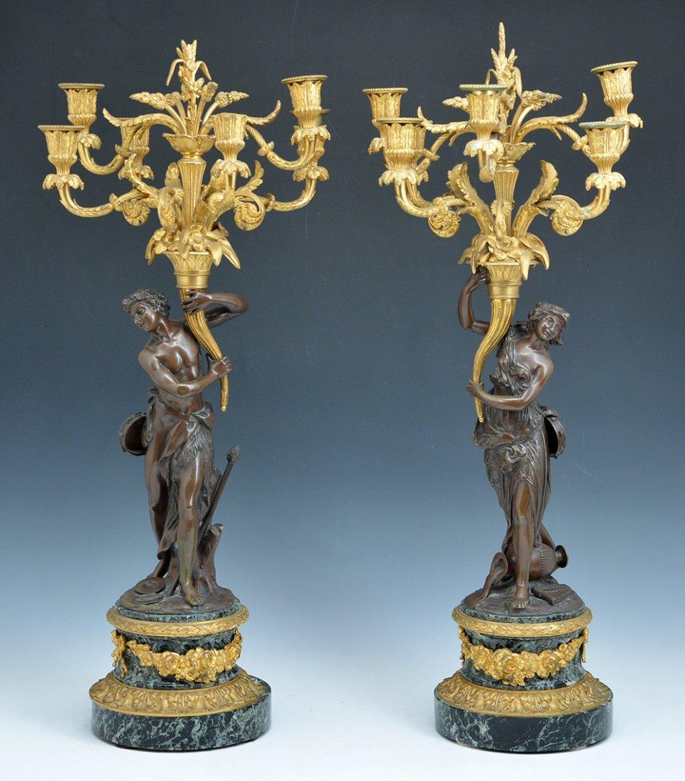 Pair of elaborate French bronze candelabra