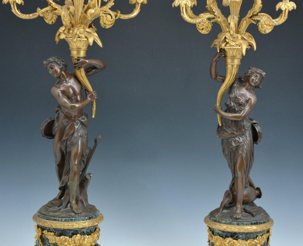 Pair of elaborate French bronze candelabra - 2