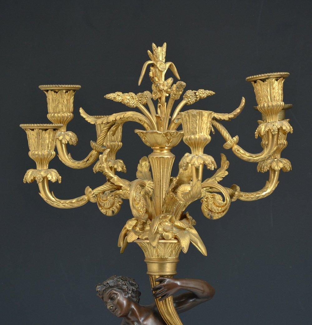 Pair of elaborate French bronze candelabra - 3