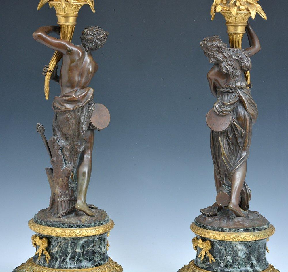 Pair of elaborate French bronze candelabra - 4