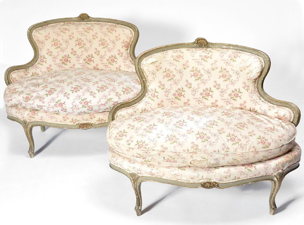 Pair of French Louis XV style painted loveseats