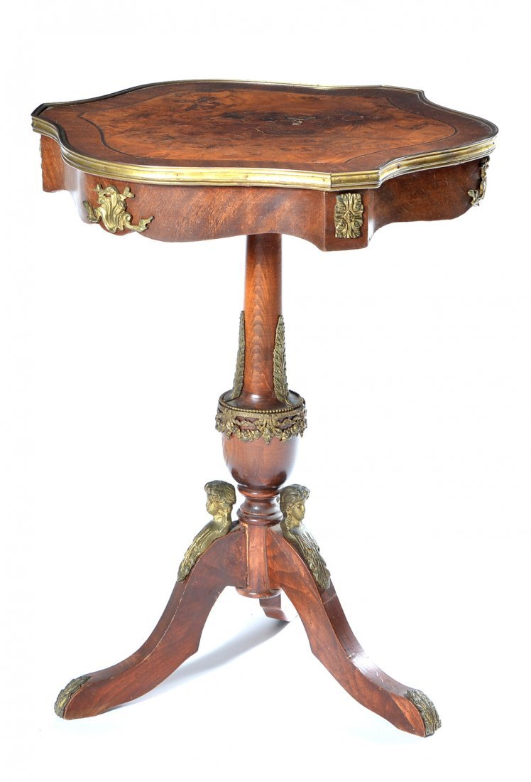 French shield top side table with ormolu mounts