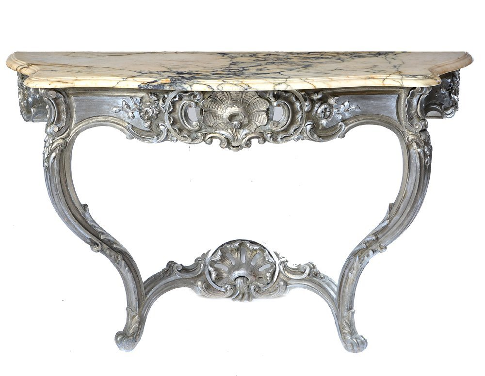 Marble Topped French Console Table