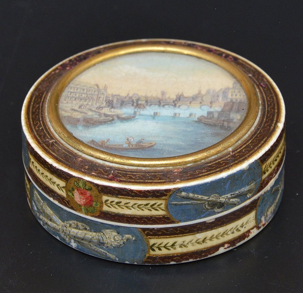 French powder box with Seine river scene, c 1820