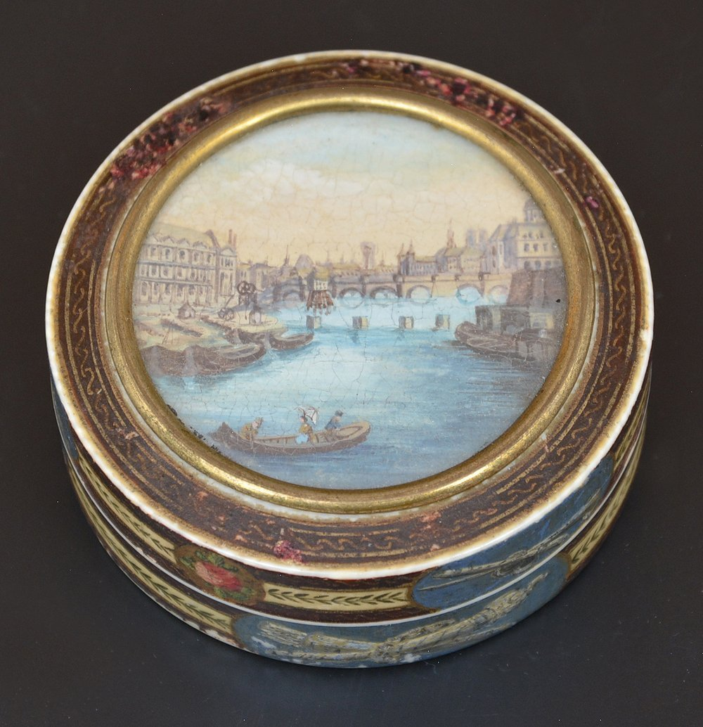 French powder box with Seine river scene, c 1820 - 3