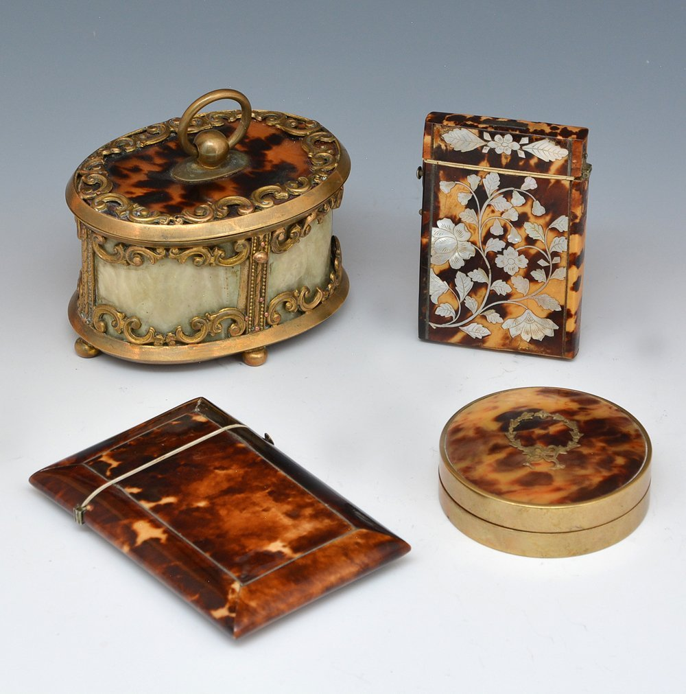 4 cases inlaid with shell and mother of pearl, 19th c