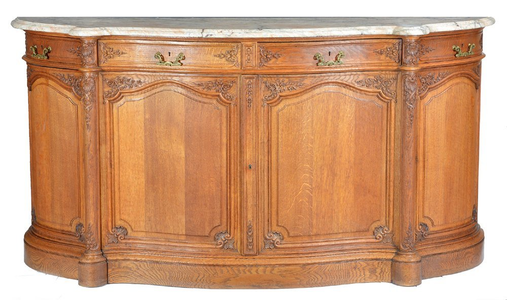 French oak serpentine sideboard with marble top