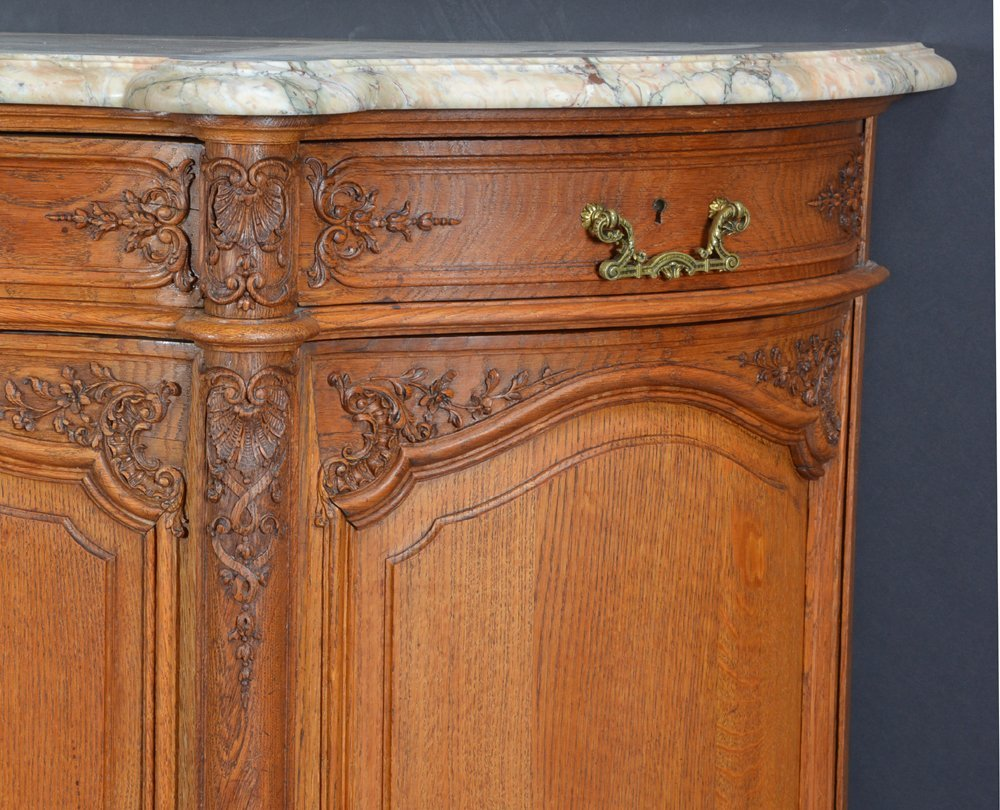 French oak serpentine sideboard with marble top - 2