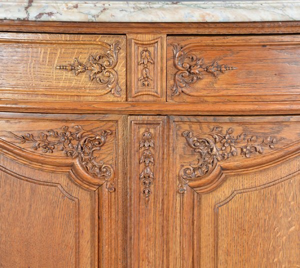 French oak serpentine sideboard with marble top - 3