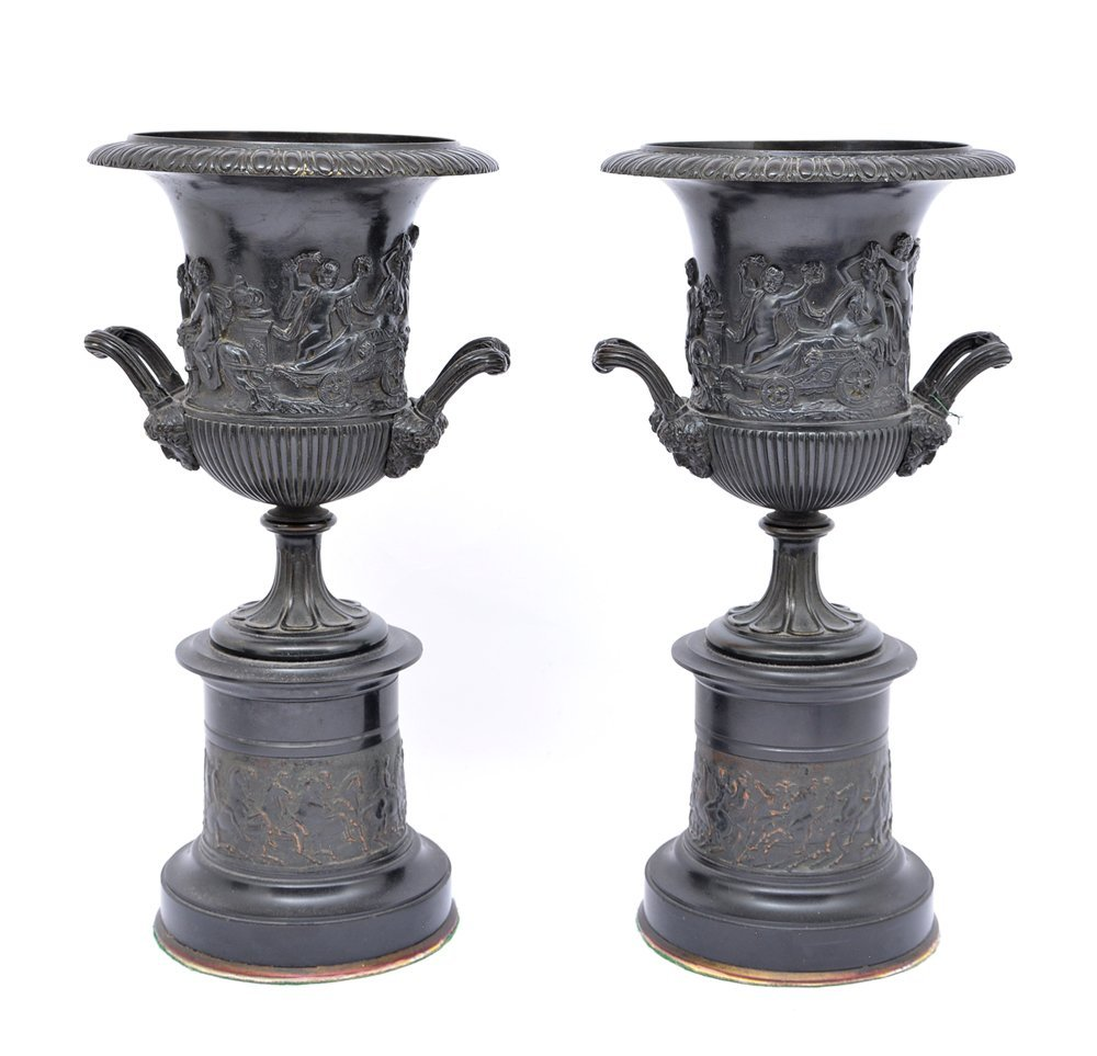 Pair Of French Bronze Urns On Stands