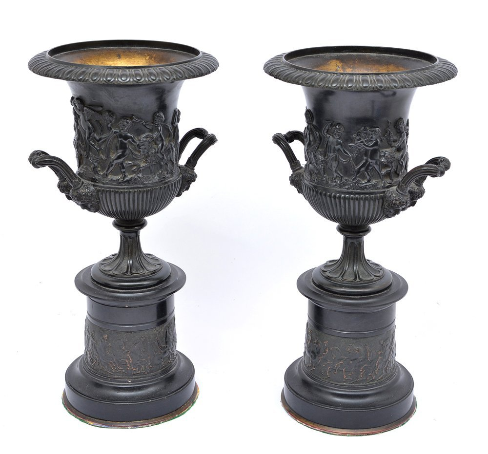 Pair Of French Bronze Urns On Stands - 2