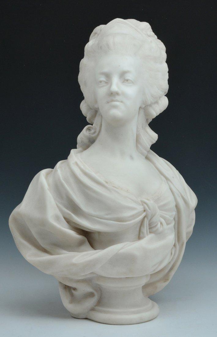 "Marble Bust of Marie Antoinette, signed ""D Houdon""."
