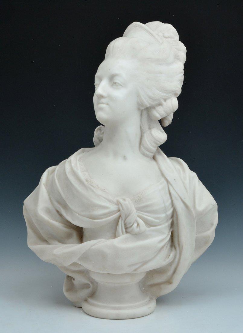 "Marble Bust of Marie Antoinette, signed ""D Houdon"". - 2"