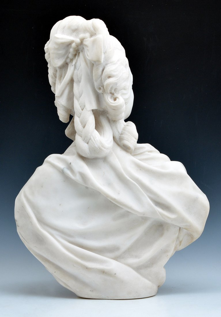 "Marble Bust of Marie Antoinette, signed ""D Houdon"". - 3"