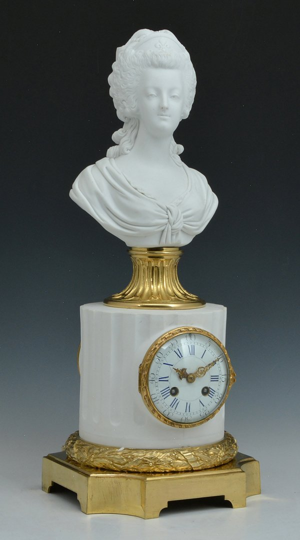 Bisque and Gilt Bronze Clock with Marie Antoinette Bust