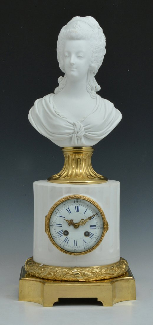 Bisque and Gilt Bronze Clock with Marie Antoinette Bust - 2