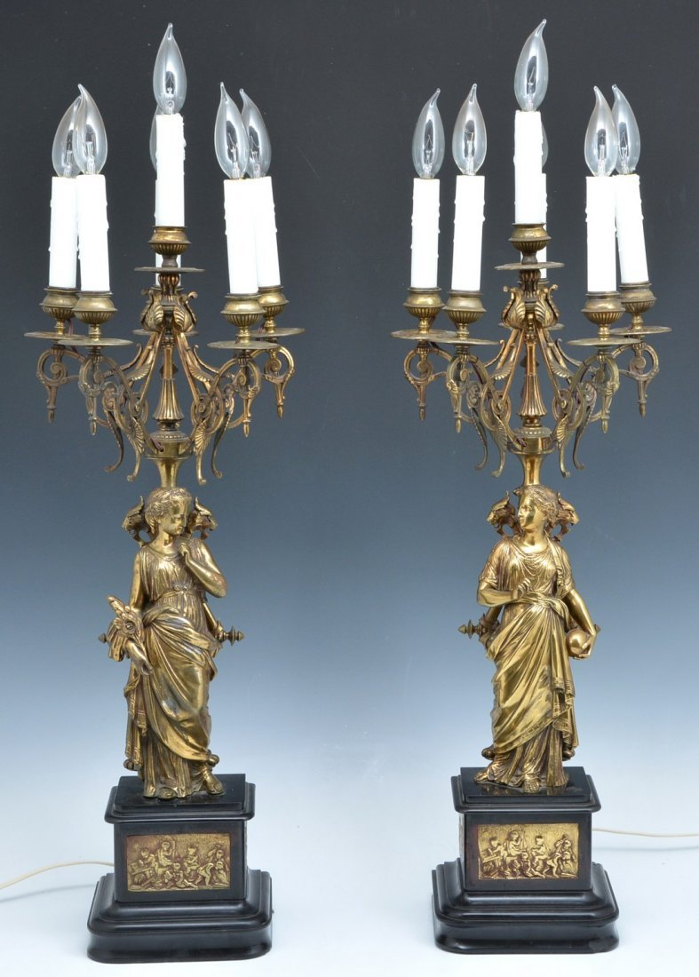 Pair Neoclassical 6 Light Candelabrum, electrified