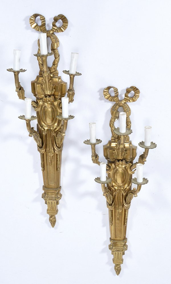"Pair of French Bronze 5 Light Sconces, 20th c, 39"" tall"