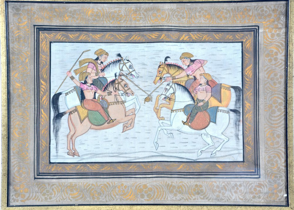 Indian Polo painting with players on horseback