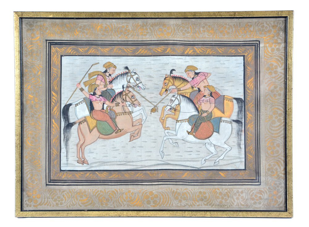 Indian Polo painting with players on horseback - 2