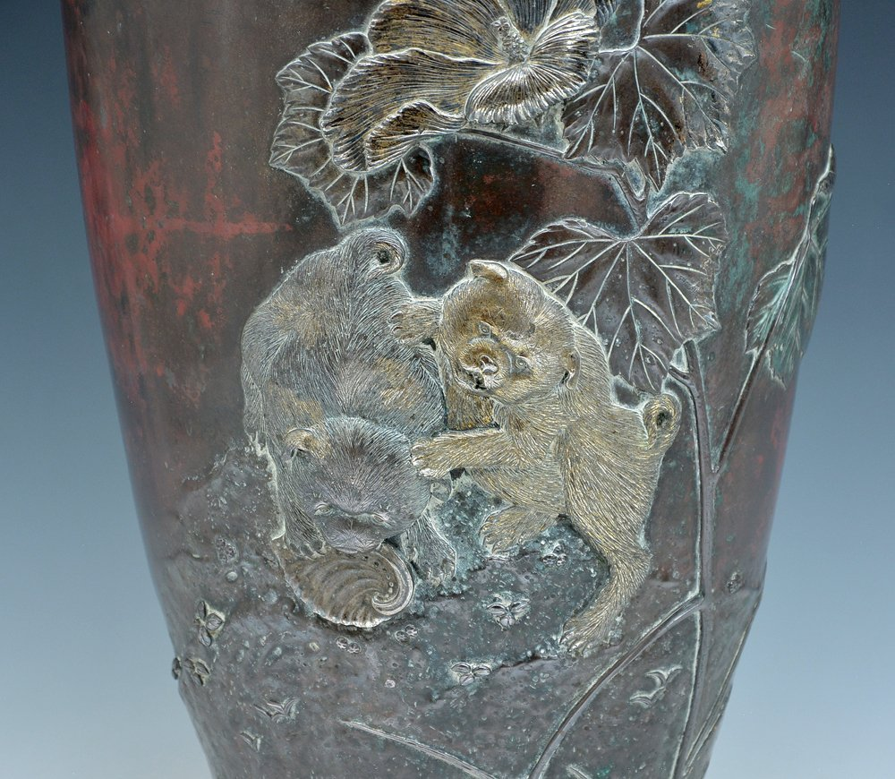 Japanese multi-metal and bronze vase - 2