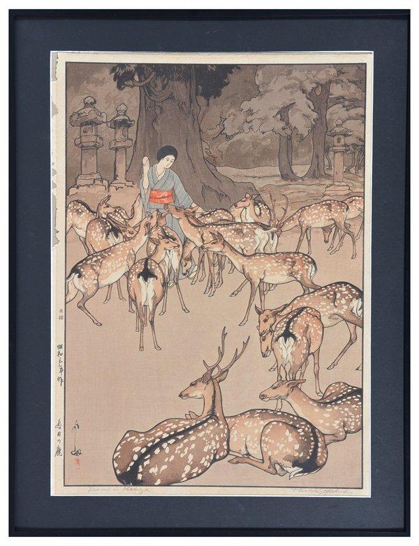 Hiroshi Yoshida woodblock, woman/ deer double oban