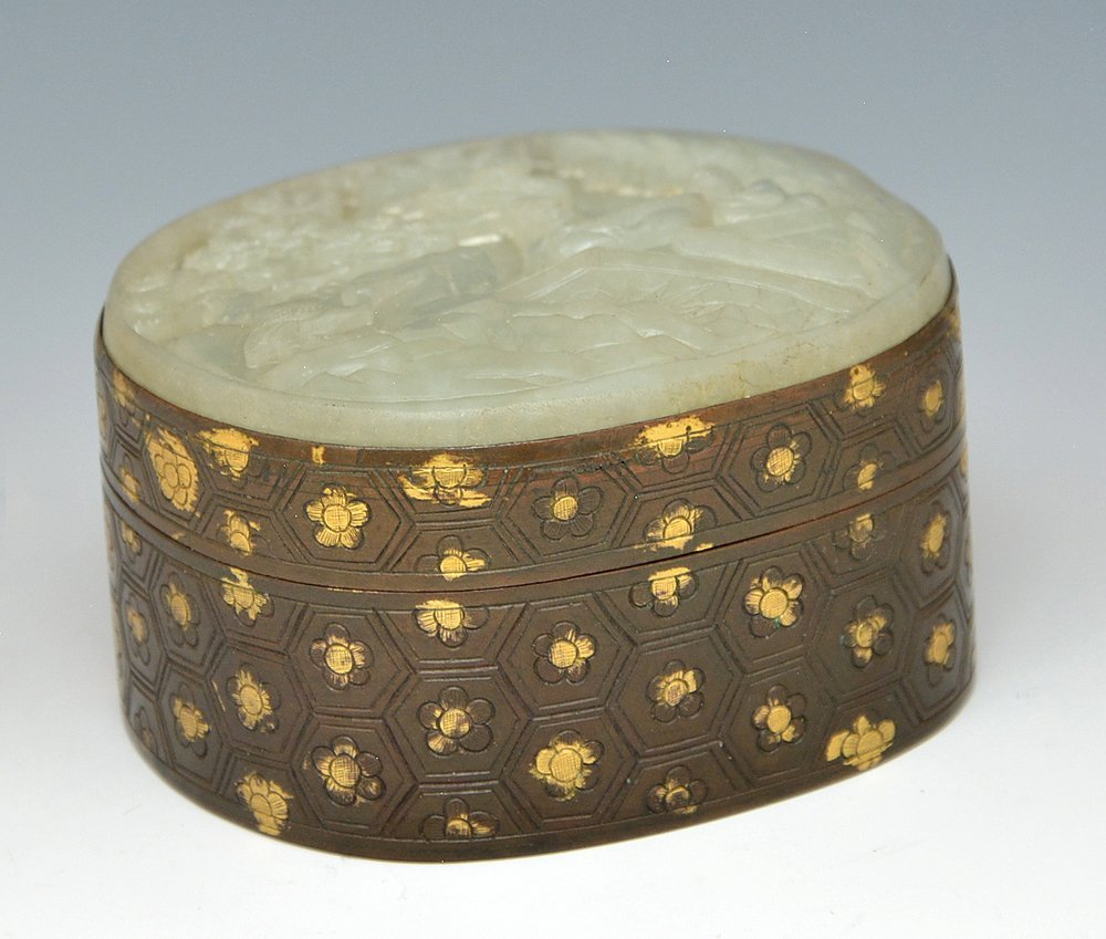 Chinese carved jade and bronze box.