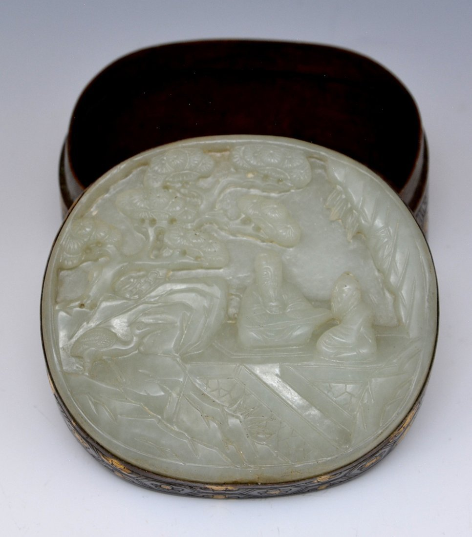 Chinese carved jade and bronze box. - 2