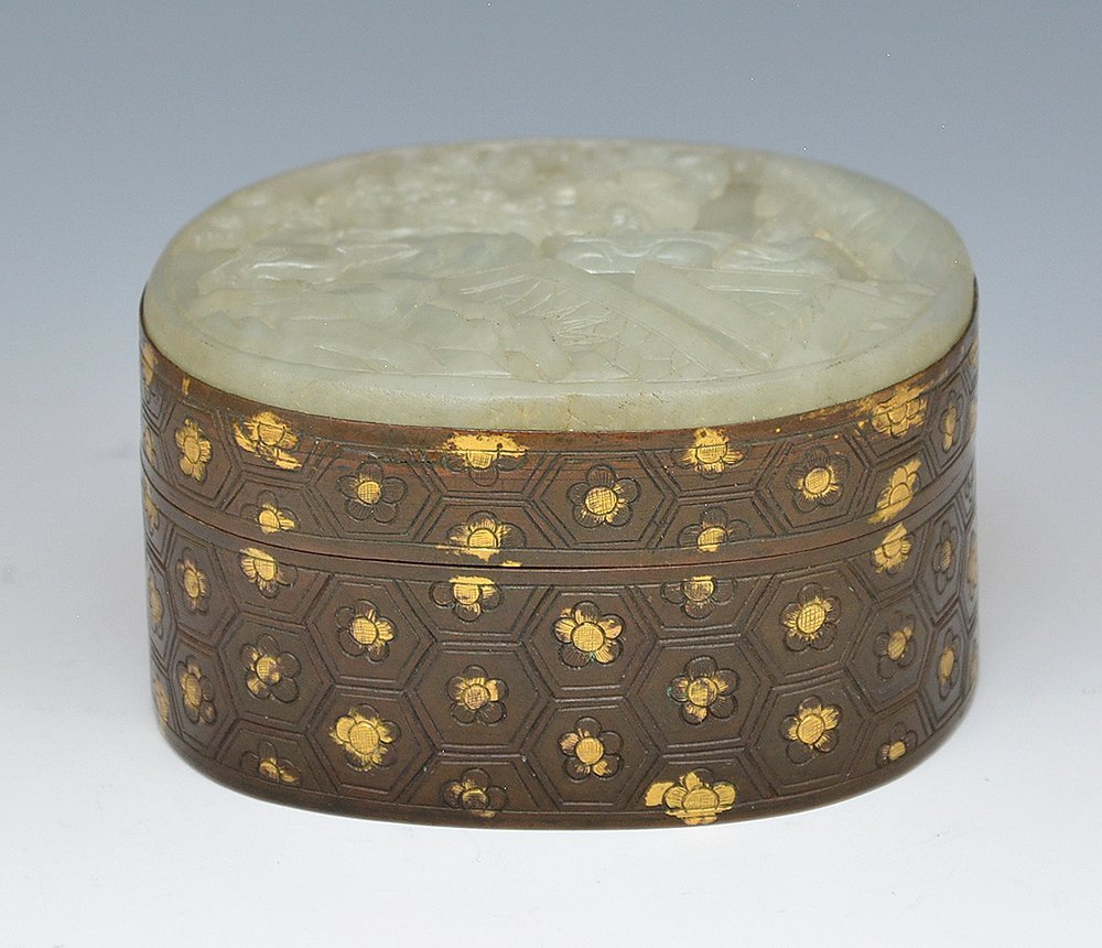 Chinese carved jade and bronze box. - 3