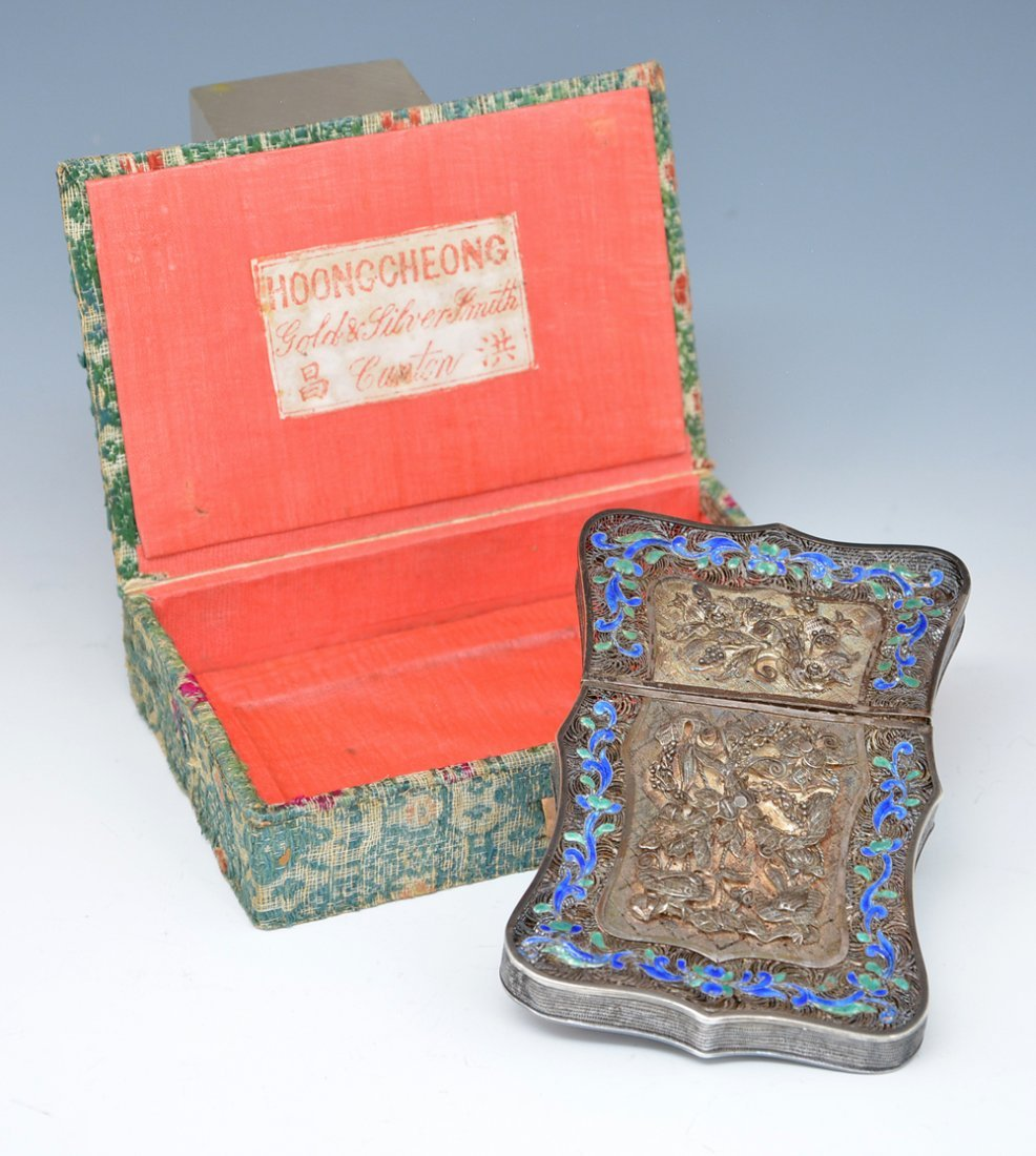 Chinese Silver filigree and enamel card case